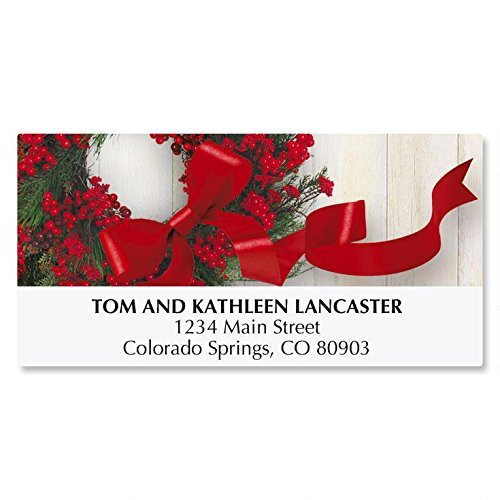 Wreath & Ribbon Personalized Christmas Address Labels - Set of 48, self-stick (Christmas Envelope Labels)