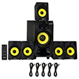 Theater Solutions TS518 Bluetooth Home Theater 5.1 Speaker System with FM Tuner and 5 Extension Cables