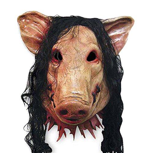 Creepy Pig Mask (WINOMO Halloween Pig Head Mask and Hair Creepy Animal Latex Mask Party Unisex Scary)