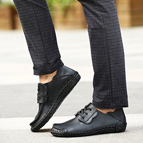 Boat Driving Deck Lace Classic Size Scarpe ups Shoes Oxford Mocassini Uomo On Shoe Boat da Yachting Black Flats Leather Slip Mens Large 6xCqSWT