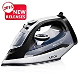 Aicok Steam Iron Professional Garment Steamer with 360° Tangle-Free Cord, 1400W Variable Temperature and Steam Control, Full Function Non-Stick Soleplate Press Iron, Black