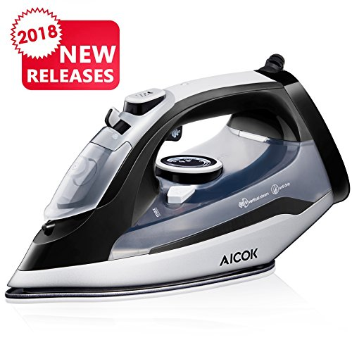 Aicok Steam Iron Professional Garment Steamer with 360° Tangle-Free Cord, 1400W Variable Temperature and Steam Control, Full Function Non-Stick Soleplate Press Iron, (Self Clean Electric Range)