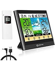 Geevon Draadloos weerstation met buitensensor, Indoor Outdoor Thermometer Hygrometer Alert Wekker LCD-kleurenscherm Weersvoorspelling met warmte-index/dauwpunt