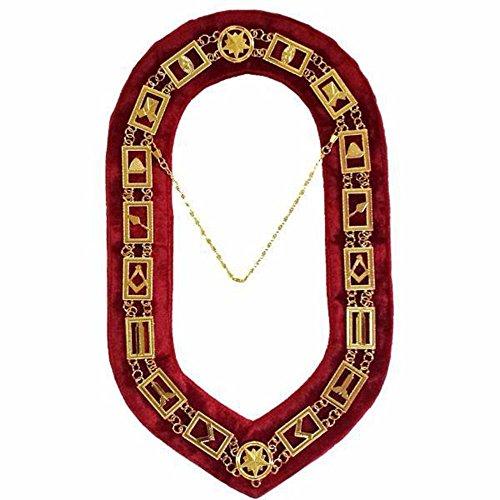 Bricks Masons Masonic Blue Lodge Chain Collar - Gold/Silver on Red + Free Case
