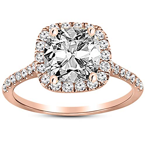 1.25 Ctw 14K Rose Gold Halo GIA Certified Diamond Engagement Ring Cushion Cut (0.75 Ct F Color VS2 Clarity Center Stone) ()