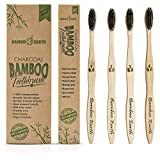 natural Bamboo Charcoal Toothbrush - Natural Biodegradable And Organic With 100% Eco Friendly BPA Free Bristles Smooth Wood Handle And Zero Waste Packaging - Pack Of 4 Wooden Toothbrushes By BambooEarth