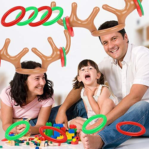 Koogel 2er Weihnachten Ringwurfspiel, Aufblasbare Geweih Rentier Kinder Wurfspiel mit 8 Wurfringen für Weihnachtsfeier Partyhüte Gartenspiele Pool Spielzeug Party Geburtstag