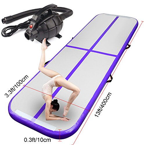 FBSPORT Inflatable Gymnastics AirTrack Tumbling Mat Air Track Floor Mats with Electric Air Pump for Home Use/Training/Cheerleading/Beach/Park and Water (Purple, 13.12) (Purple Air)