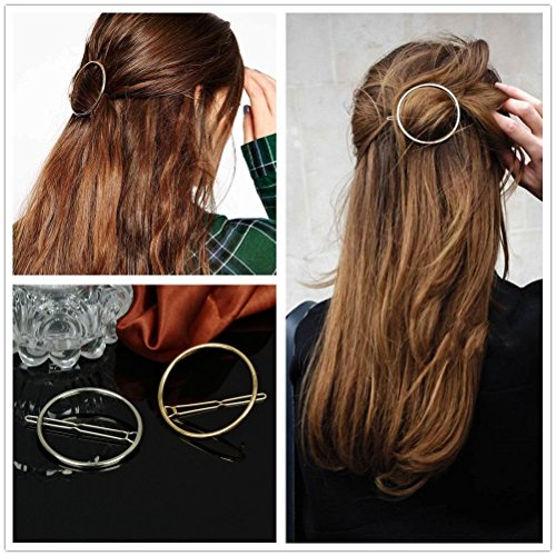 AKOAK Hollow Hoop Round Circle Geometric Metal Hair Clip Bobby Pin Ponytail Holder Hair Accessories for Women and Girl (2 Pcs/Lot,1 Gold & 1 Silver)