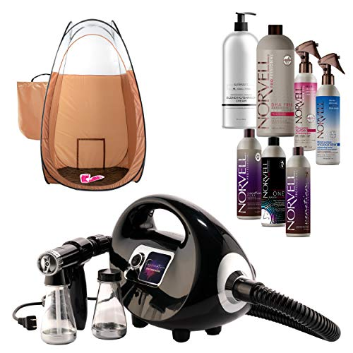 Fascination Spray Tan Machine System with Norvell Airbrush Tanning Solution Sunless Pro Kit Bundle with Disposable Spa Feet and Bronze Pop Up Tent