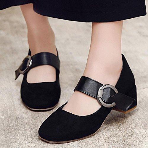 COOLCEPT Zapato Mujer Comodo Tacon Ancho medio Court Zapatos Mary Jane Zapatos Negro