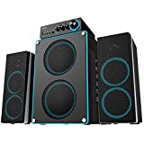 Arion Legacy 3 Piece Extreme Clarity 2.1 Speaker System 86 Watts with High Definition Audio, Dedicated Tweeters, Woofers , Dual Subwoofers and Control Box Connects PC, TV, MP3, Headphone, Microphone and Charges USB devices (Deep Sonar 550)