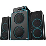 Deep Sonar 550 Extreme Clarity Large Size 2.1 PC Speakers with Dual Subwoofers and Control Box Connects TV, Headphone, Microphone and Charges USB Devices