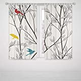Southwest Blackout Curtains Nature Birds Wildlife Cartoon Like Image with Tree Leaf Art Print High-Precision Blackout CurtainGrey Maroon Blue and Mustard Yellow