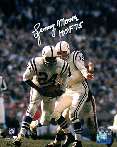Lenny Moore Autographed/Signed Baltimore Colts 8x10 Photo HOF