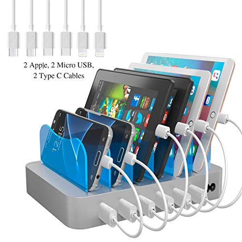(Hercules Tuff Fast Charging Station for Multiple Devices - Organize your home or Business! 6 port multi USB Charger cables included (3 Types) - lphone, lpad, Samsung, bluetooth, kindle (ETL Certified))