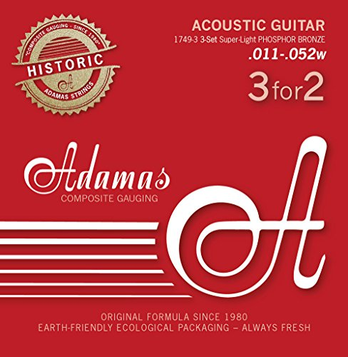 Adamas strings for steel string guitar Adamas Phosphor bronze Historic Reissue 3er Satz Super-Light .011