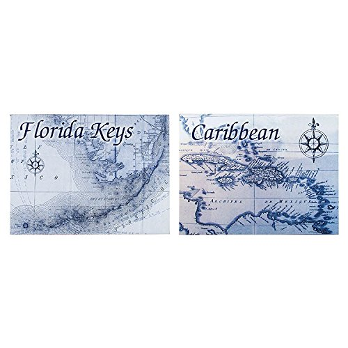 Caribbean Art Toilet Paper Holder (Canvas Prints, Destination Maps Canvas, Set of 2 Painting of Florida Keys & Caribbean Ready to Hang for Home & Office Wall Decor 24 X 18 X 1 Inch)