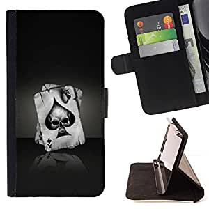 - Ace Of Spades Skull/ Personalized Design Custom Style PU Leather Case Wallet Flip Stand - Cao - For HUAWEI P8 Lite
