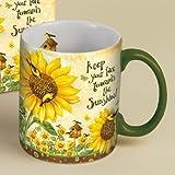 "LANG - 14 oz. Ceramic Coffee Mug -""Sunflowers"", Art by Debi Hron - Goldfinch, Birdhouse"