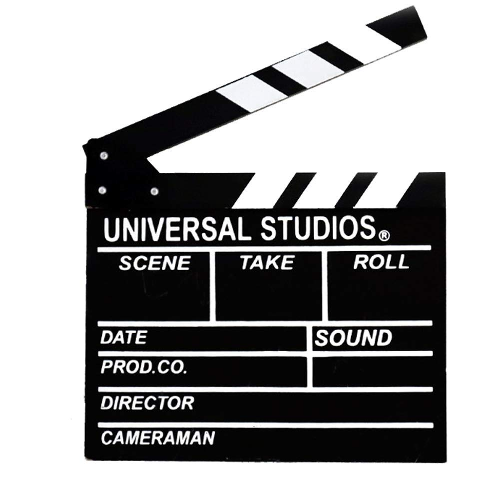 "Movie Film Clap Board, Hollywood Clapper Board Wooden Film Movie Clapboard Accessory with Black & White, 11.7""x10.8"""
