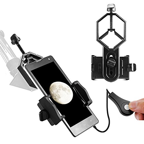 Meking Universal Cell Phone Adapter Mount + Wire Shutter, Compatible with Binocular Monocular Spotting Scope Telescope and Microscope for Iphone Samsung, Best for Recording the Nature of the World from Meking