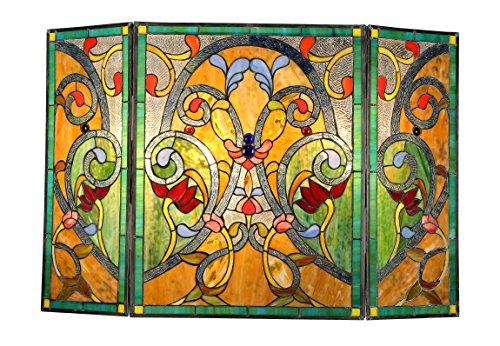 (Chloe Lighting Victorian 3pcs 44x28 Myrtle Tiffany-Style Folding Fireplace Screen)