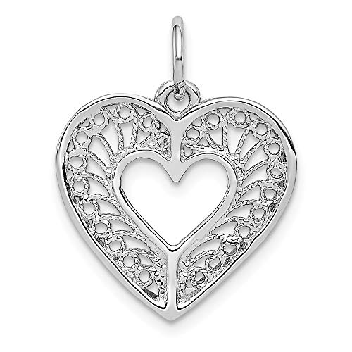 14K White Gold Solid Diamond Cut Fancy Filigree Heart Charm