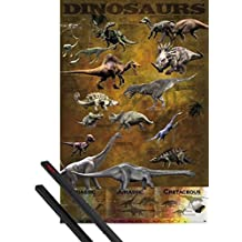 Poster + Hanger: Dinosaurs Poster (36x24 inches) Chart And 1 Set Of Black 1art1® Poster Hangers