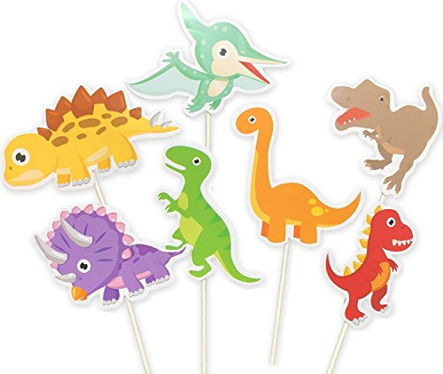35-Pack Baby Dinosaur Cupcake Toppers Picks, Dinosaur cake Toppers for Kids Birthday Baby Shower Party Decorations Supplies ()