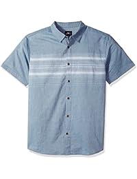 Men's Standard Fit Chest Stripe Short Sleeve Woven