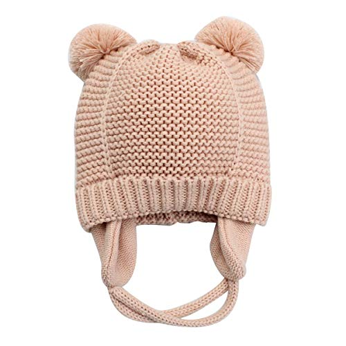 (Earflaps Newborn Baby Infant Toddler Kids Knit Hat Beanie Pink)