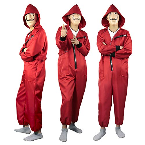 Halloween 2019 Coveralls (La Casa De Papel Costume 2019 Unisex Movie Cosplay Red Halloween Costume Coverall Jumpsuits with Dali)