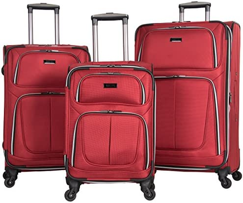 Kenneth Cole Reaction 'Lincoln Square' Softside 3-Piece 4-Wheel Spinner Luggage Set: 20″ Carry-on, 24″, 28″, Red