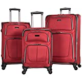 Kenneth Cole Reaction 1680d Poly 4-Whl Exp 3-Piece Luggage Set: 20'', 24'', 28'', Red