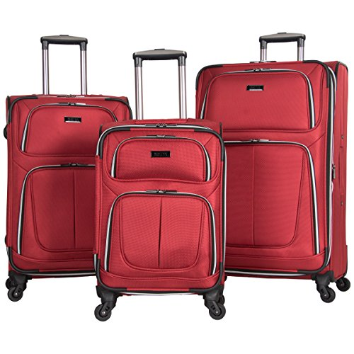 Kenneth Cole Reaction 1680d Poly 4-Whl Exp 3-Piece Luggage Set: 20'', 24'', 28'', Red by Kenneth Cole REACTION