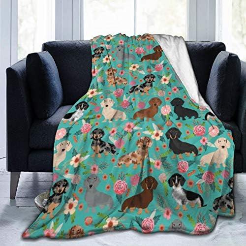 bassotto floreale animale domestico ritratto cane cane arte casa morbida calda coperta peluche per letto//divano//ufficio//campeggio coperta in pile 127 x 152,4 cm Meiya