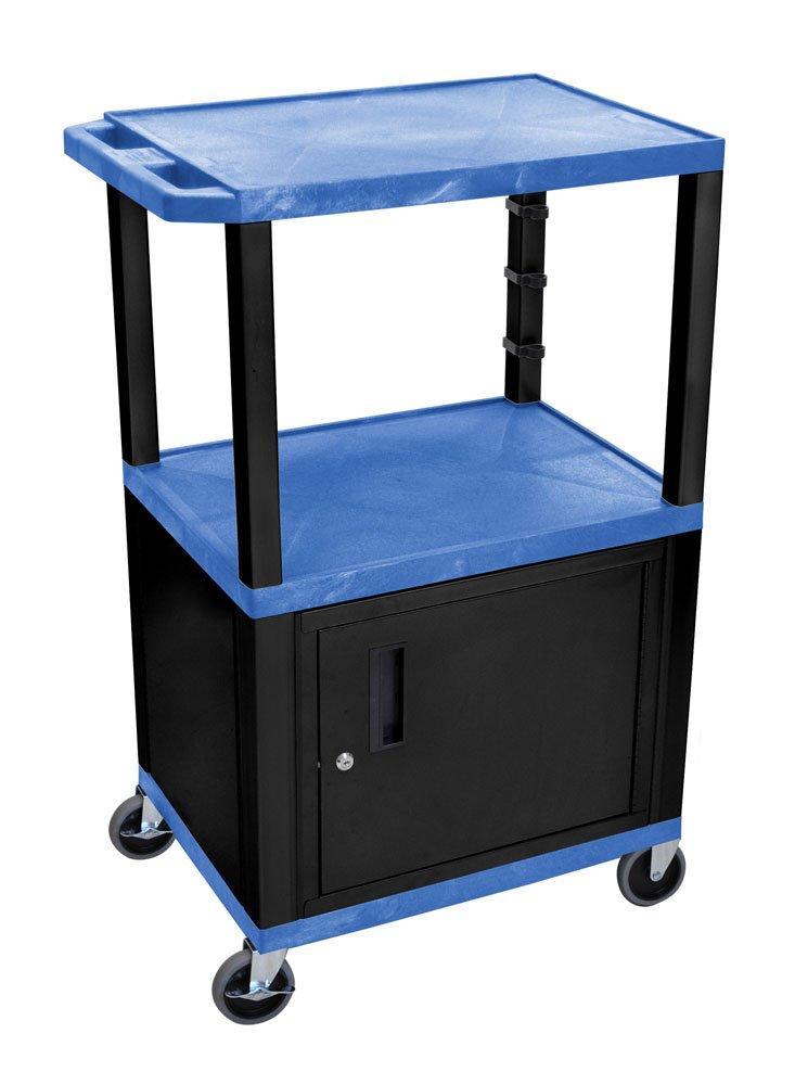 Luxor WT42BUC2E-B 42'' Multipurpose 3 Shelves A/V Cart with Storage Cabinet - Black Legs