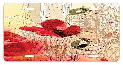 rfy9u7 6 x 12 Inch Vintage License Plate, Red Poppy Flower Paint Brush Effect Beige Floral Design Digital Art Print (Vintage Plates Poppy)