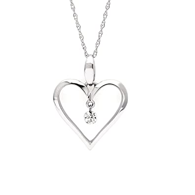 Amazon 14k white gold 06 cttw floating diamond heart pendant 14k white gold 06 cttw floating diamond heart pendant necklace with 18quot chain aloadofball Images