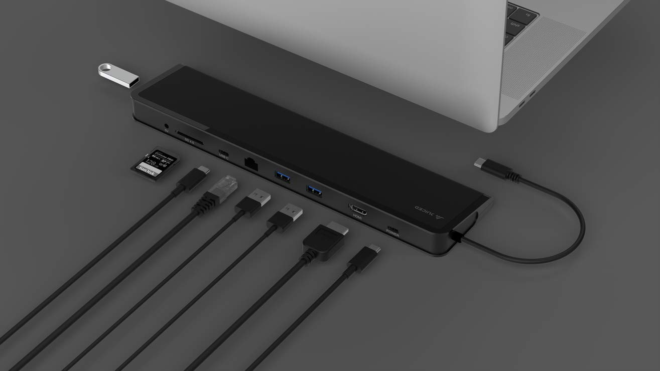 Juiced Systems ChockDOCK v2 - Universal USB-C Laptop Docking Station - 1x USB-C Power Delivery | 1x USB-C 3.1 Gen 2 Data Port | 1x USB 3.1 Gen 2 Port | 2x USB 3.0 Gen 1 | Gigabit Ethernet | SD | AUX
