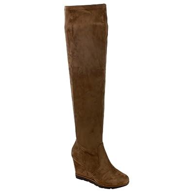 Amazon.com   BETANI FD01 Women's Stretchy Over The Knee Platform ...