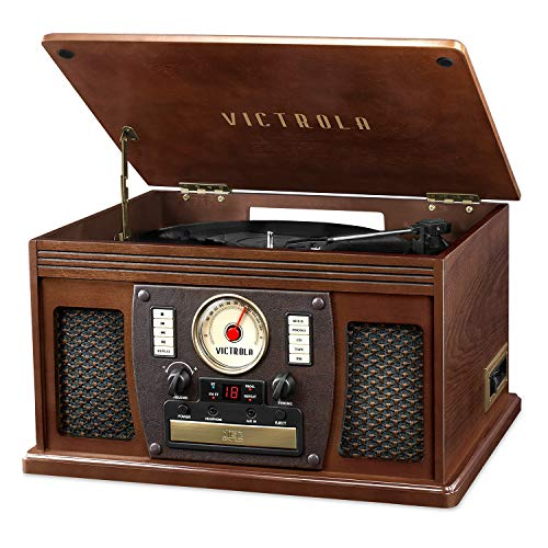 (Victrola's 7-in-1 Sherwood Bluetooth Recordable Record Player with 3-Speed Turntable, CD, Cassette Player and FM Radio)