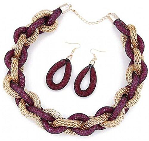 JSDY Womens Luxury Punk Chunky Sanke Chian Weave Pendant Choker Necklace Earring Dark Purple