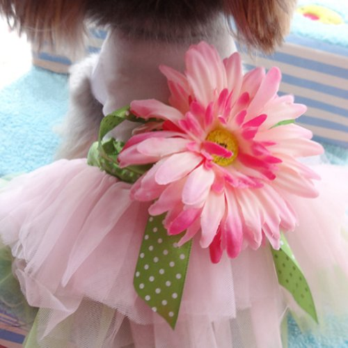 PanDaDa Dog Daisy Gauze Tutu Dress Skirt Pet Dog Cat Princess Clothes Bowknot Dress S