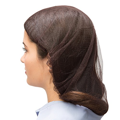 AMMEX Hair Nets - Nylon, Brown, 21'', Case of 1000