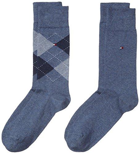 Tommy Hilfiger Herren Socken TH MEN CHECK, 2er Pack, Gr. 39/42, Blau (jeans 356)