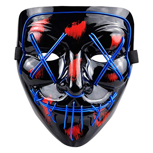 PINFOX Light Up Led Mask Flashing El Wire Glow Scary Mask Rave Costumes for Party, Halloween (Blue)]()
