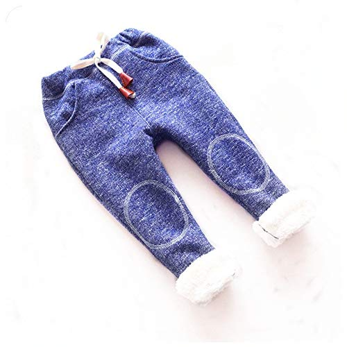 BibiCola Autumn Baby Girls Winter Leggings Children Plus Thick Velvet Pants Casual Trousers Kids Warm Girl Christmas Pants (12M, Blue)