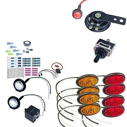 UTV Turn Signal Kit with Horn, Hardware Kit, 4 way 8 LEDs (No Wire, Oval  LED)